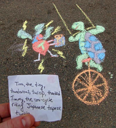 Tina, the tiny, thunderous turnip, thanked Timmy, the unicycle-riding Japanese trapeze turtle